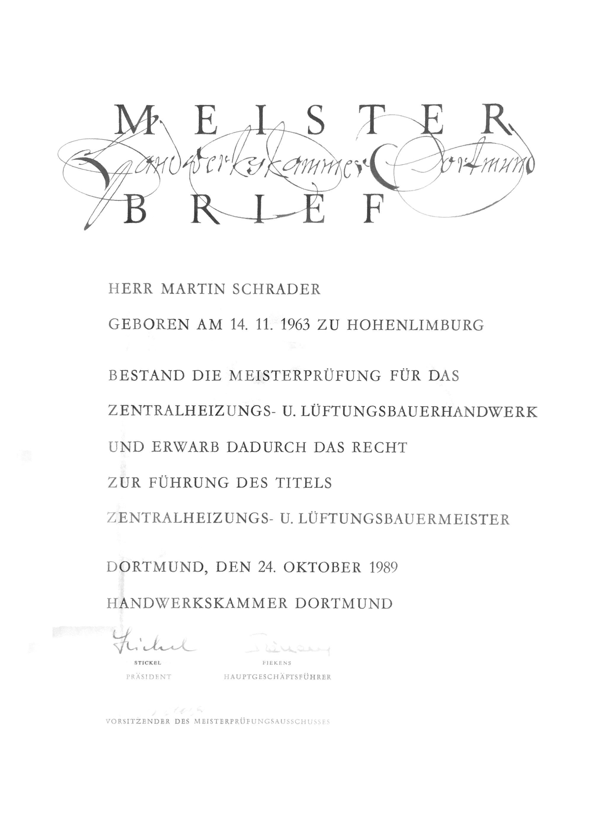 Meisterbrief Martin Schrader