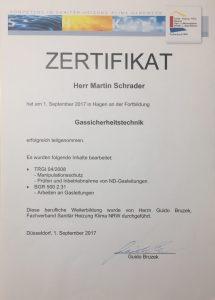 Gassicherheitstechnik Zertifikat