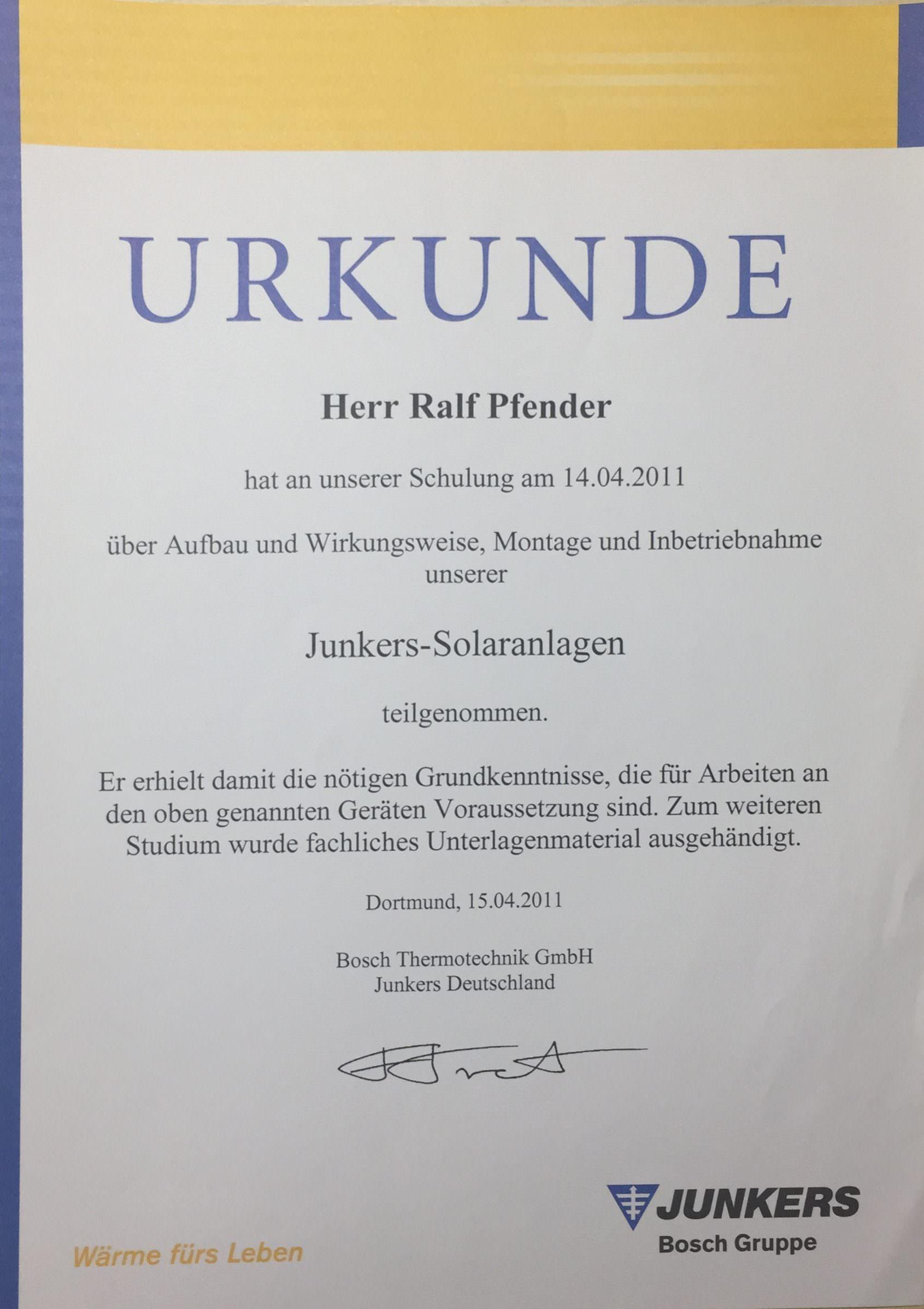 Junkers Solaranlagen Zertifikat