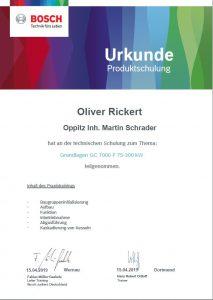 Junkers Bosch Gaskessel Schulung Oliver Rickert