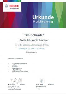 Junkers Bosch Gaskessel Schulung Tim Schrader